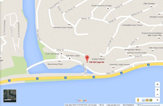 Map Knysna Terrace Guesthouse in Knysna  Garden Route  Western Cape  South Africa