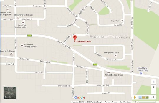 Map Sunbird House in Kommetjie  False Bay  Cape Town  Western Cape  South Africa