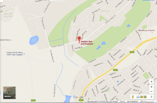 Map Setilda\'s Bed and Breakfast in Middelburg (MP)  Heartland  Mpumalanga  South Africa