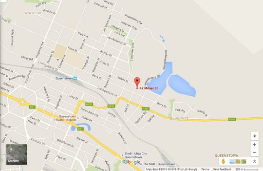 Map Mechell\'s Accommodation in Queenstown  Stormberg District  Eastern Cape  South Africa