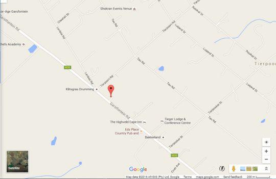 Map Ariki Country House in Tierpoort  Pretoria East  Pretoria / Tshwane  Gauteng  South Africa