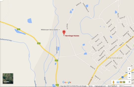 Map Hermitage Huisies in Swellendam  Overberg  Western Cape  South Africa