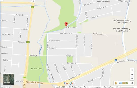Map Sunset Manor Guest House in Potchefstroom  Southern (NW)  North West  South Africa
