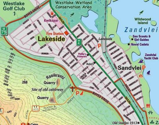 Map Lakeside Cottage in Lakeside  False Bay  Cape Town  Western Cape  South Africa