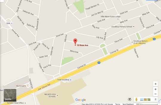 Map Guest House Gabby in Klerksdorp  Southern (NW)  North West  South Africa