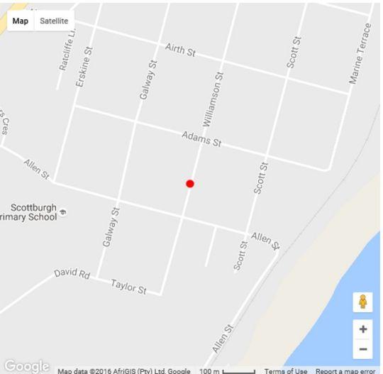 Map Evergreen in Scottburgh  South Coast (KZN)  KwaZulu Natal  South Africa