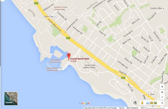 Map Krystal Beach Hotel in Gordon's Bay  Helderberg  Western Cape  South Africa