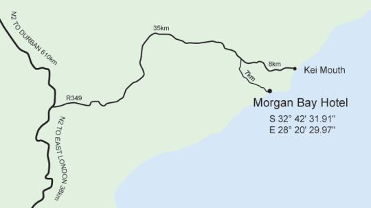 Map Morgan Bay Caravan Park in Morgan Bay  Wild Coast  Eastern Cape  South Africa