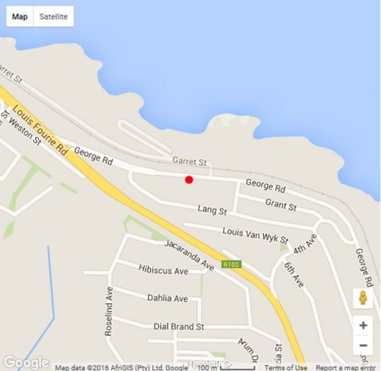 Map 82 De Bakke Terrace in Mossel Bay  Garden Route  Western Cape  South Africa