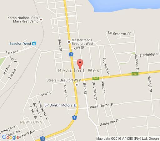 Map Aan De Voortrekker in Beaufort West  Karoo  Western Cape  South Africa
