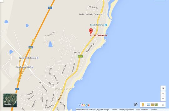 Map Wild Waters Holiday accommodation in Shelly Beach  South Coast (KZN)  KwaZulu Natal  South Africa