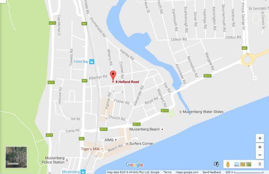 Map Muizenberg Guestique in Muizenberg  False Bay  Cape Town  Western Cape  South Africa