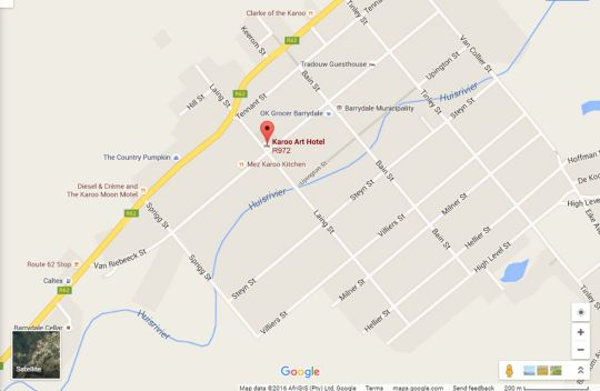 Map Karoo Art Hotel in Barrydale  Overberg  Western Cape  South Africa