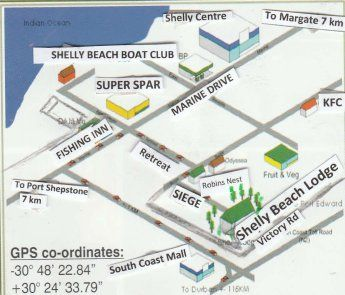Map Shelly Beach Lodge in Shelly Beach  South Coast (KZN)  KwaZulu Natal  South Africa
