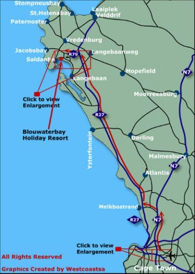 Map Blue Bay Lodge in Saldanha  West Coast (WC)  Western Cape  South Africa