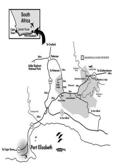 Map Amakhala Safari Lodge in Addo  Cacadu (Sarah Baartman)  Eastern Cape  South Africa