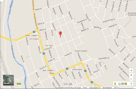 Map Cathy\'s Guest house in Cradock  Stormberg District  Eastern Cape  South Africa