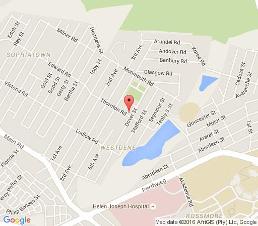 Map  Thornton Gap Guesthouse in Westdene  Northcliff/Rosebank  Johannesburg  Gauteng  South Africa