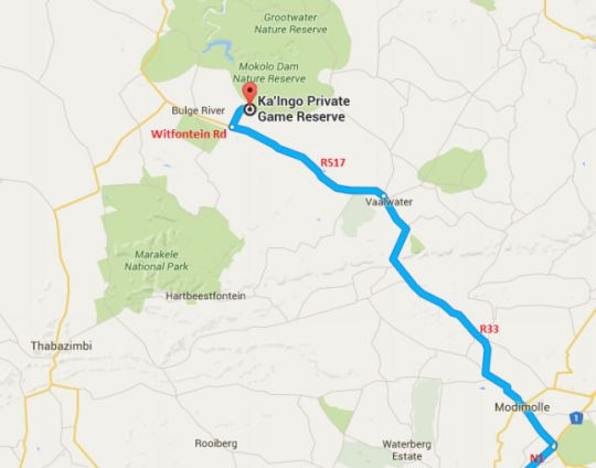 Map Kaingo Private Game Reserve in Vaalwater  Waterberg  Bushveld  Limpopo  South Africa