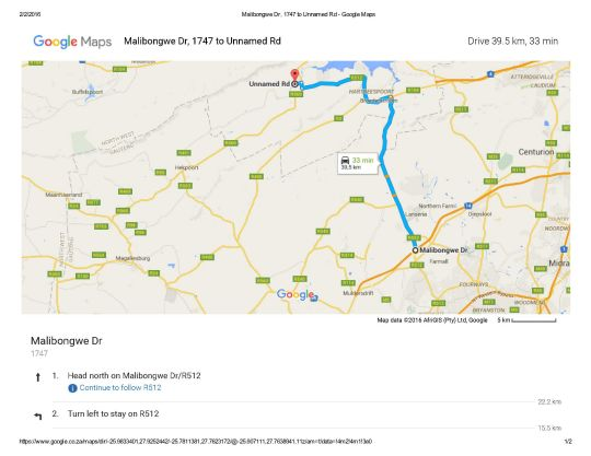 Map Millstream inn in Hartbeespoort  Bojanala  North West  South Africa