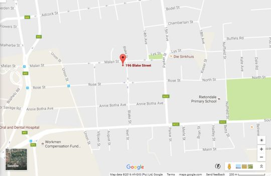 Map Oppi Hoek Guesthouse in Riviera  Moot  Pretoria / Tshwane  Gauteng  South Africa