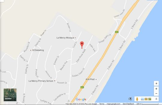 Map Eden Rose Manor in La Mercy Beach  North Coast (KZN)  KwaZulu Natal  South Africa
