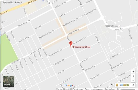 Map Monica\'s Cottage in Kensington (JHB)  Johannesburg East  Johannesburg  Gauteng  South Africa