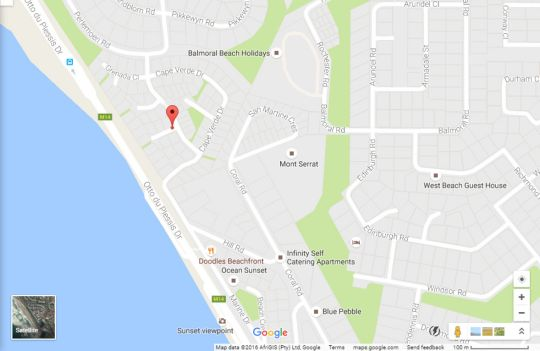 Map 3 Palms Beach Villa in Bloubergstrand  Blaauwberg  Cape Town  Western Cape  South Africa