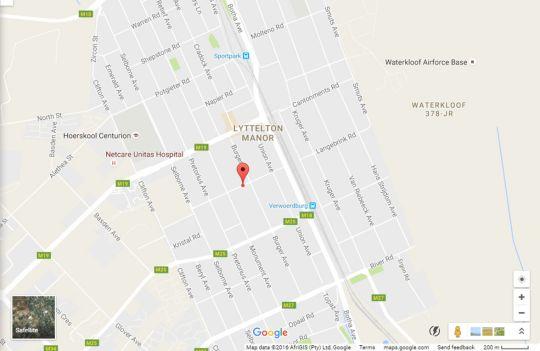 Map Jasmyn Self Catering Apartment in Lyttelton  Centurion  Pretoria / Tshwane  Gauteng  South Africa