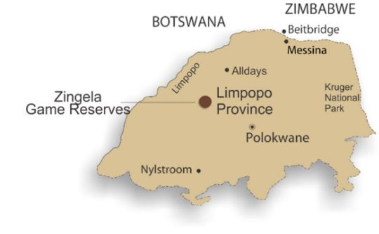 Map Zingela Game Reserves - Baobab Tented Camp in Tolwe  Bushveld  Limpopo  South Africa