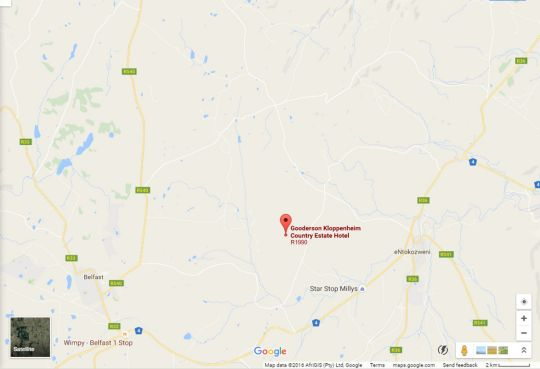 Map Kloppenheim Self-Catering in Machadodorp  Highlands  Mpumalanga  South Africa