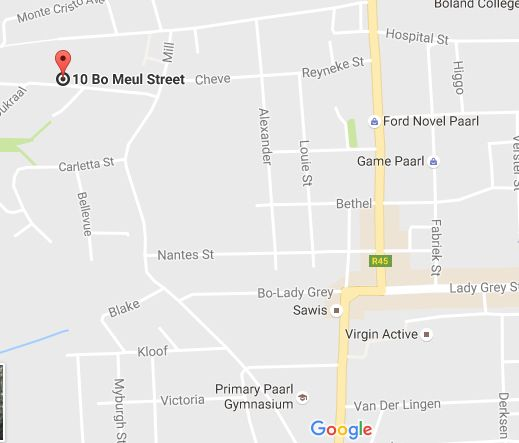 Map Upper Mill - Self Catering in Paarl  Cape Winelands  Western Cape  South Africa