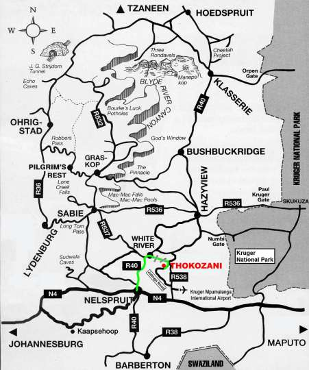 Map Thokozani Lodge in White River  The Panorama  Mpumalanga  South Africa