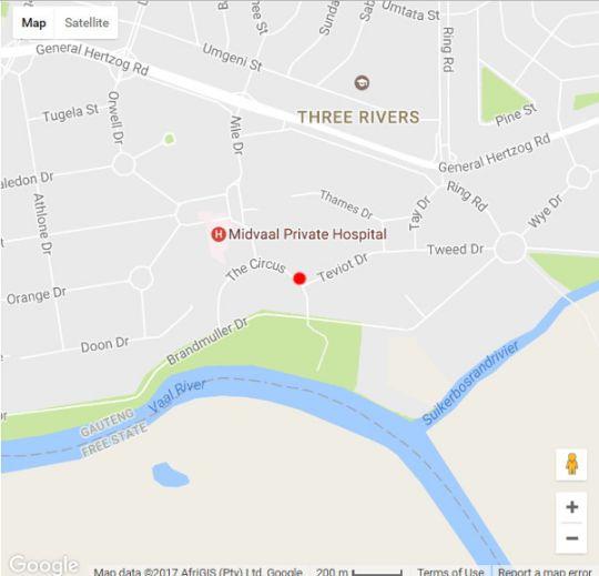 Map Tudor Guest House in Vereeniging  Sedibeng District  Gauteng  South Africa