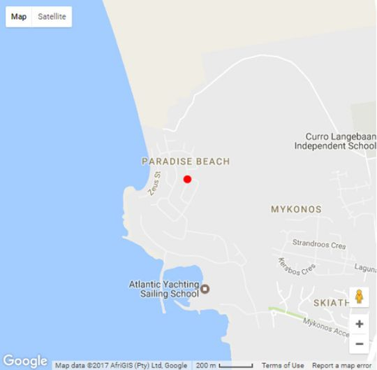 Map Malindila Apartment in Langebaan  West Coast (WC)  Western Cape  South Africa