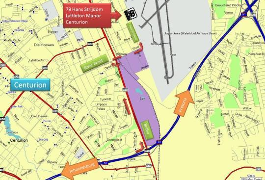 Map Lyttelton Eilandhuis in Lyttelton  Centurion  Pretoria / Tshwane  Gauteng  South Africa