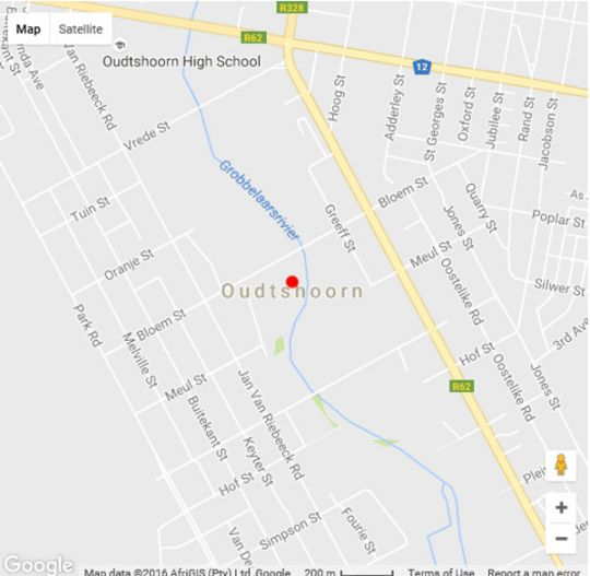 Map De Poort Country Lodge in Oudtshoorn  Klein Karoo  Western Cape  South Africa