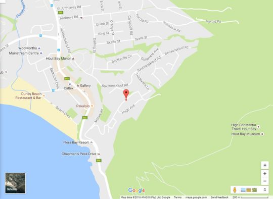 Map Hugo Villa in Hout Bay  Atlantic Seaboard  Cape Town  Western Cape  South Africa