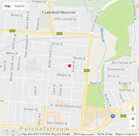 Map Die Kuiergas in Potchefstroom  Southern (NW)  North West  South Africa