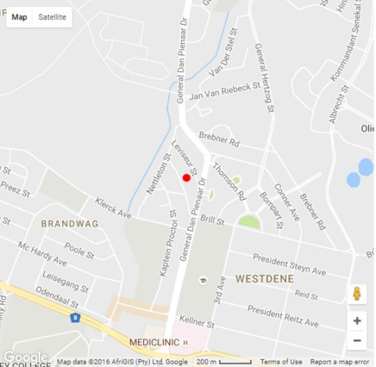 Map MacLeod House in Bloemfontein  Mangaung  Free State  South Africa