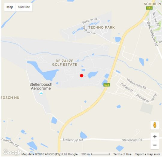 Map De Zalze Luxury Villa in Stellenbosch  Cape Winelands  Western Cape  South Africa
