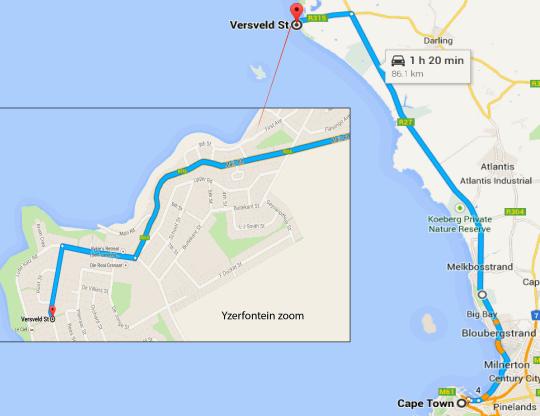 Map Honeybird Manor in Yzerfontein  West Coast (WC)  Western Cape  South Africa