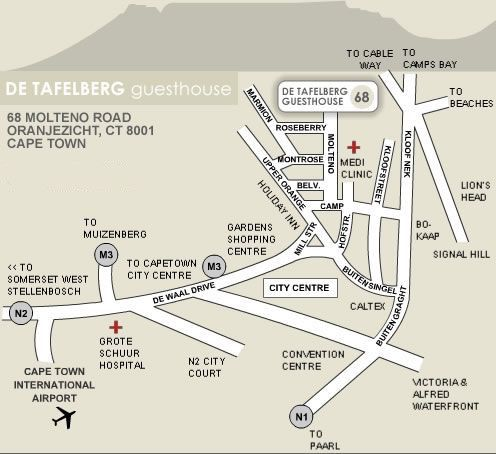 Map De Tafelberg Guesthouse in Oranjezicht  City Bowl  Cape Town  Western Cape  South Africa