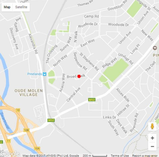 Map On Broadwalk Cottage in Pinelands  Southern Suburbs (CPT)  Cape Town  Western Cape  South Africa