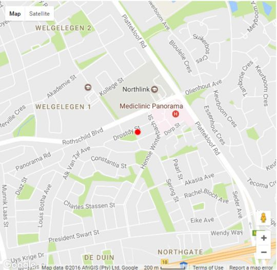 Map Vergenoegd Guest  House in Panorama (CPT)  Northern Suburbs (CPT)  Cape Town  Western Cape  South Africa