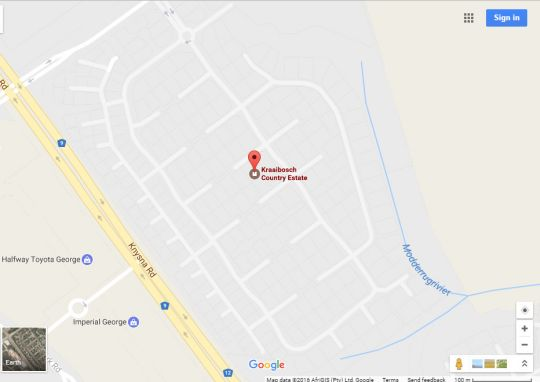 Map Skyways Kraaibosch Country Estate in George  Garden Route  Western Cape  South Africa