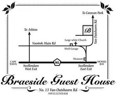 Map Braeside Guest House in Swellendam  Overberg  Western Cape  South Africa