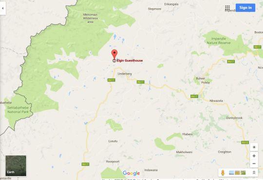 Map Elgin Guest House in Underberg  Southern Drakensberg  Drakensberg (KZN)  KwaZulu Natal  South Africa
