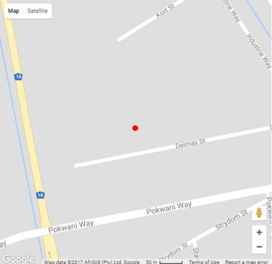 Map Die Kasteel in Hartswater  Diamond Fields  Northern Cape  South Africa
