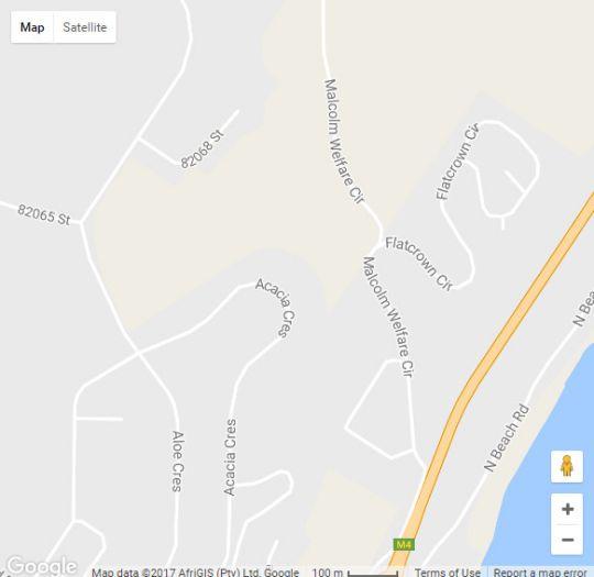 Map Robins Nest  in Westbrook  North Coast (KZN)  KwaZulu Natal  South Africa